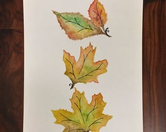 Watercolor Painting - Autumn Leaves