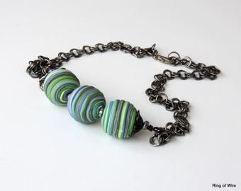 Green Bead Necklace, Gray Bead Necklace, Polymer Clay Necklace, Polymer Clay Jewelry, Bar Necklace, Blue Bead Necklace, Chunky Bead Necklace