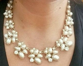 Cream pearls and crystals gold tone statement necklace