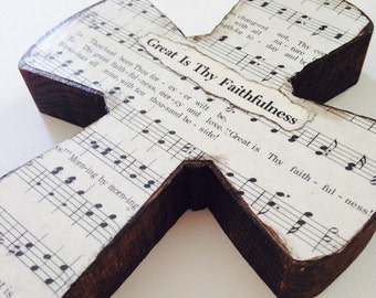 Great Is Thy Faithfulness Wood Wall Hymnal Cross MADE TO ORDER