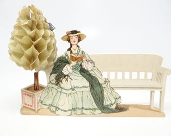 Vintage Die Cut Party Place Card Favors. with Honeycomb Tree, Antique Stand Up