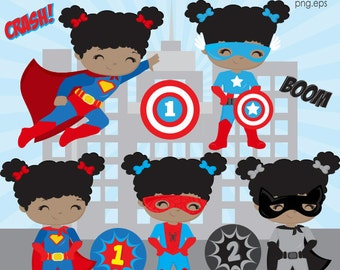 Superhero girls clipart, African American superhero girl clipart, girl Superhero, superhero kids, Superhero party, Commercial License
