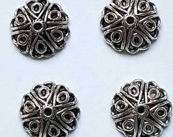 12mm lead free silver finish bead cap