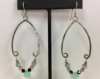 Chrysoprase Hand Forged Sterling Silver Dangle Earrings