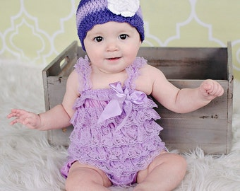 Baby Girl Hat 0 - 3 Month Purple Baby Hat Grape Lavender Baby Girl Clothes Crochet Flower Hat Spring Photo Prop Baby Girl Gift Baby Girl Cap