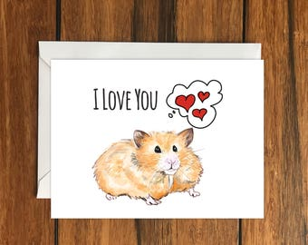 I Love Hamster greeting card A6 One Card and Envelope Valentine's Romantic