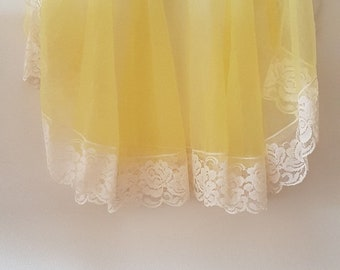 Vintage 70s Yellow Sheer Lace trimmed Apron