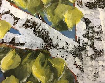 "Birch Tree - Acrylic on canvas (original) 10"" high, 8"" wide, 1.5""deep."