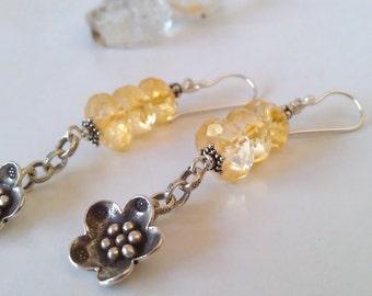 Natural Citrine Gemstone Fine Silver Jasmine Drop Earrings