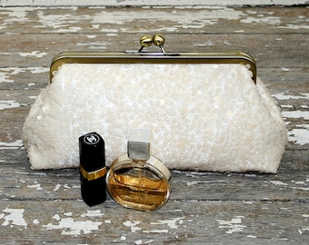 Ivory Sequin Bridesmaid Clutches / Lace Wedding Clutches / Wedding Gift / Bridal Clutch / Bridal Shower Gift