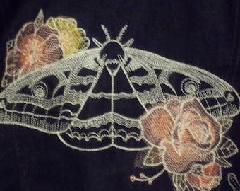 Skeletal Hand, Moth and Flowers Embroidered Denim Jacket