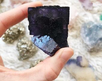 Purple / Violet Fluorite crystal cube