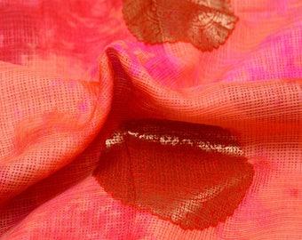 Golden-Pink and Peach Circle Pattern Kota Doria Fabric-S036