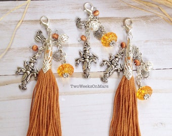 Fall autumn planner scarecrow pumkin sunflower silver TN bead dangle charm tassel clip