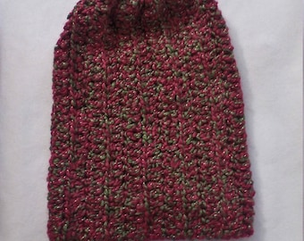 half price slouchy beanie in shades of red and green
