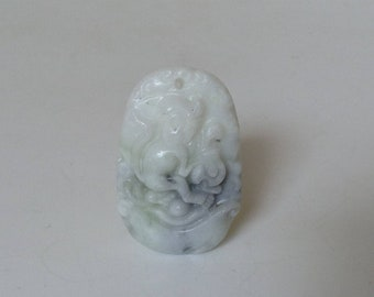 Year of the monkey quartz pendant. Carved Chinese astrology gemstone pendant - white and grey.