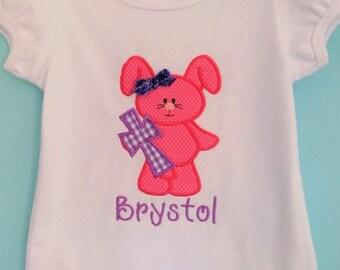 Easter shirt or bodysuit- baby girl onesie, bunny onesie, Easter shirt, bunny shirt, bunny with cross