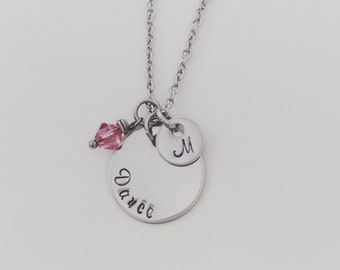 Dance Necklace with Initial and Birthstone