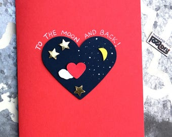 Valentine's Day card to the moon and back