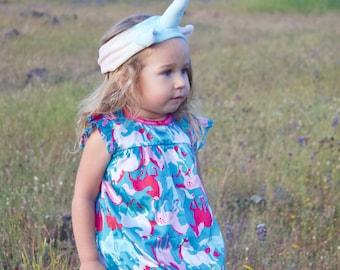 Organic pastel rainbow Unicorn Headband, hand dyed with eco friendly dyes and love, eco kids, vegan kids