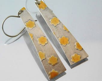Flower Printed Sterling Silver Dangle Earrings With 24kt Gold Accents