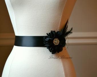 DEBRA Black Feather Flower Bridal Sash   Chiffon Rhinestone Flower Wedding Dress Sash   Bridal Belt   Ribbon   Bridesmaids   Feather Veiling