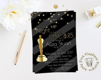 Oscar party invitation academy awards invites oscar party rsvp