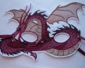 Red Dragon Mask, Embroidered on White Felt