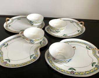 Set of 4 Noritake Tea Cup/Snack Plate Sets