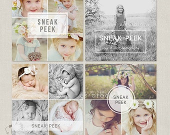 Sneak Peek Blog Board & Collage Photoshop Template for Photographers - Photography Marketing Templates - C275, INSTANT DOWNLOAD