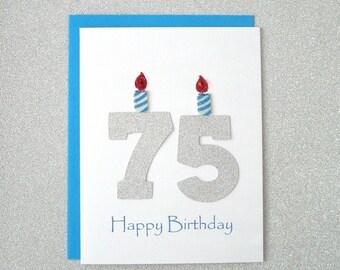 75th Birthday Card, 75th Milestone Birthday Card, 75th Birthday Greeting Card, Seventy Fifth Happy Birthday Greeting Card, The Big 75 Card