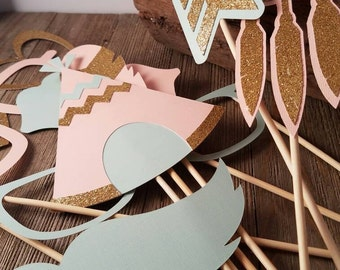 Boho photo booth props, tribal baby shower photo booth props, boho photo props, tribal birthday props, birthday party ideas, party pr