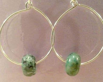 African Turquoise Silver Hoop Earrings