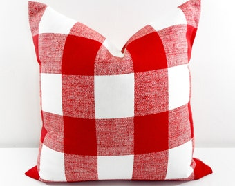 Red Pillow. Pillow Cover. Buffalo Check. Red Check Cushion Covers. Red White. Country Style Pillow Case. 1 piece.  cotton. Select your size