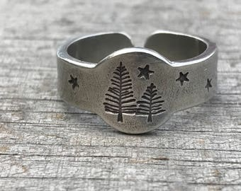 Ring, Tree Ring, Trees and Stars, Silver Ring, Boho Jewelry, Tree Jewelry, Adventure Rings, Pewter Ring, Metal Hounds