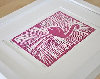Pink Flamingo Block Print 8x10in