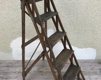 Old ladder painter wood 5 market library Vintage decor