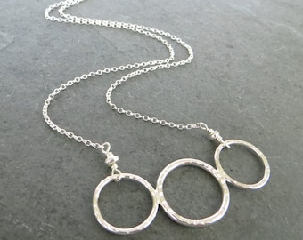 Sterling Silver Necklace, Triple Ring Necklace, Three Circles Necklace, Last Minute Gift UK, Geometric Jewelry, Silver Jewellery UK
