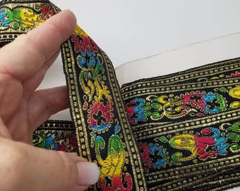 Colorful fabric woven trim from India 1 1/2 inch wide sold by the yard 20