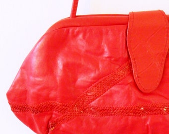 Red Leather Vintage Clutch Purse / Bold Vintage Snakeskin Leather Bag / Red Leather Evening Bag / Convertible Clutch