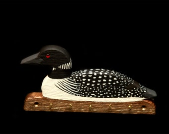Hand carved Loon key rack with 5 hooks.