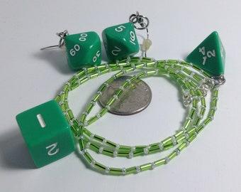 Green Dice Jewelry Set