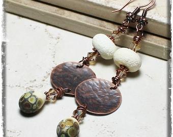Vanilla Cafe au Lait... Handmade Jewelry Earrings Beaded Lampwork Crystal Rustic Boho Hippie Gypsy Cream Raku Antique Copper Dangle Long