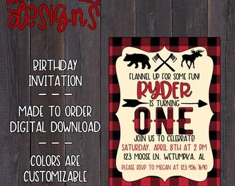 Flannel Birthday Invitation