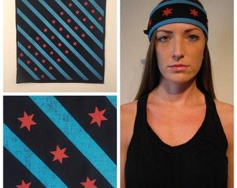 Black Chicago Flag Bandana