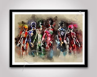 Power Rangers poster Instant Download Print Digital Superheroes Wall art Movie poster Boys room decor Friend Best friend Boyfriend Boy Gift