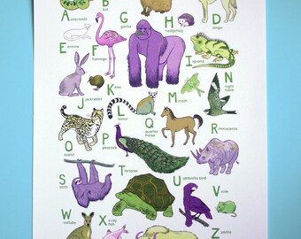 "ABC Animal Print - 10x13 print - baby kids nursery art, sloth gorilla flamingo hedgehog ""Earth's Animals"""