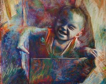 Modern impresionist  pastel Original drawing on paper by Luis Angeles