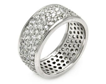 Eternity Band, Wide Eternity Band, Wide Band, Eternity, 925 Sterling Silver and Rhodium Band, Silver Band