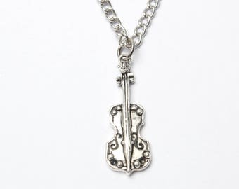 Violin Necklace, Gift for Violinist Present, Silver Fiddle Pendant Jewelry, Violin Charm, Fiddle Player, orchestra instrument music teacher